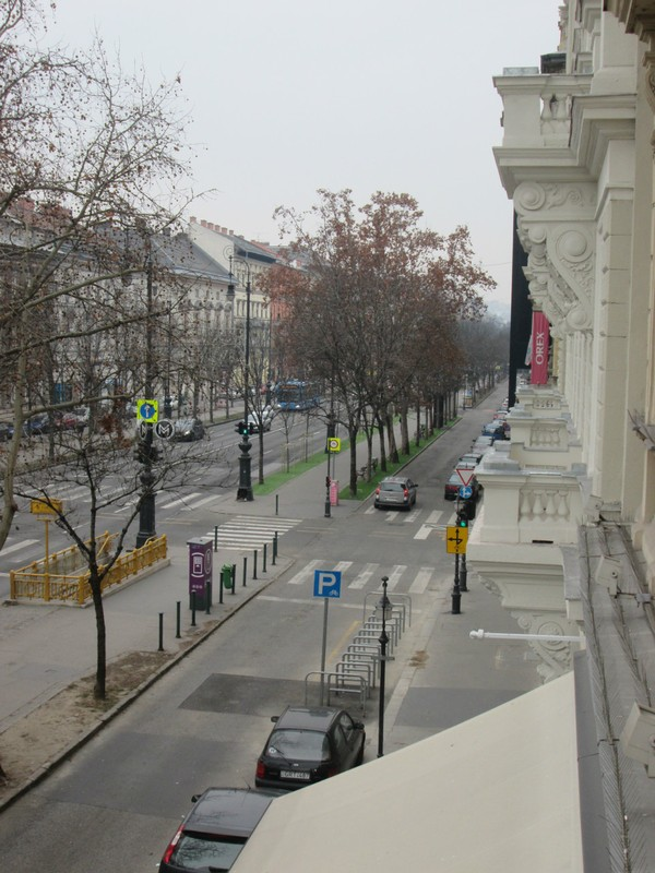 The view from our apartment on Andrassy Ut in Budapest