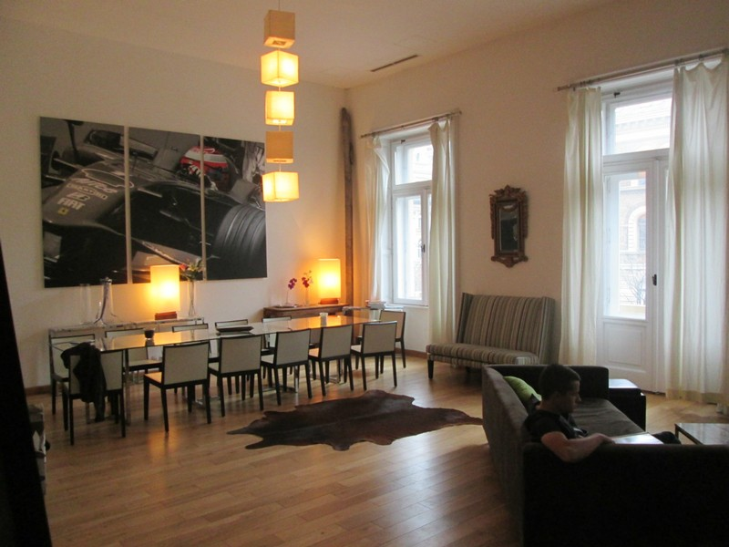 The spacious apartment in Budapest offered plenty of space for our large extended family staying with us.